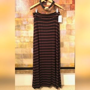 MONA B Black And Caramel Brown Striped Maxi Skirt